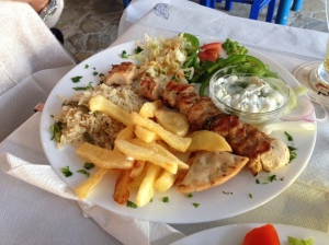 Chicken souvlaki at Hercules taverna, Tigaki
