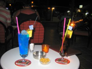 Suspicious premix(?) cocktails at a bar in Tigaki