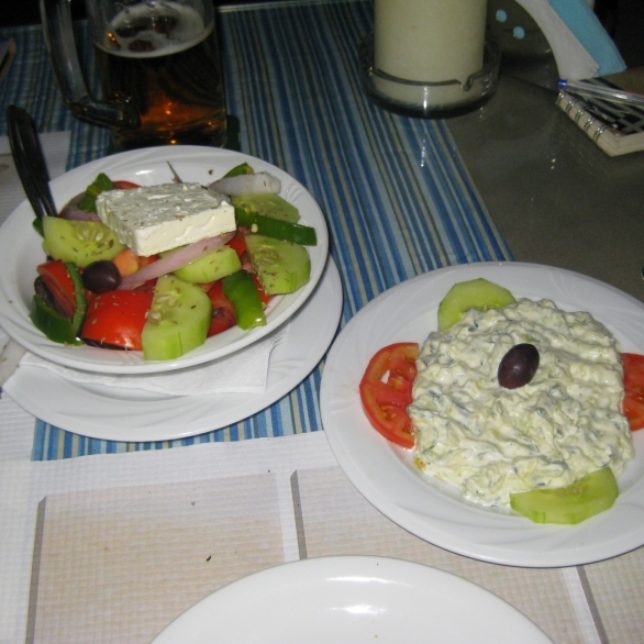 ...and the accompanying Greek salad and dip