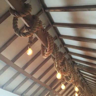 Lights on ropes similar to those in Bella Italia in Loughborough